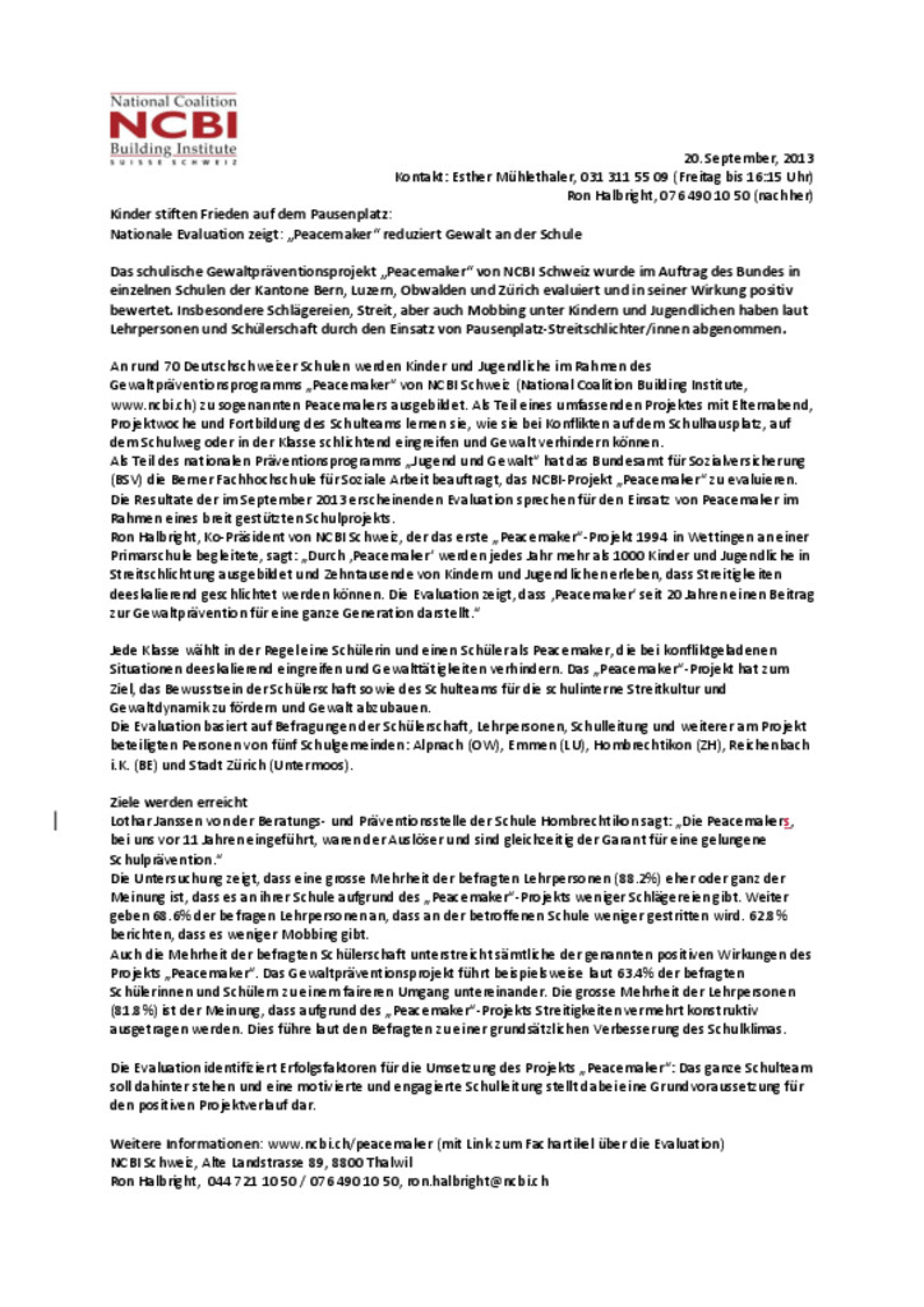 thumbnail of Medienmitteilung – BSV Evaluation – Peacemaker reduziert Gewalt an der Schule